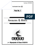 Solutions AIATS(Junior)-2019 Test-1A - Class-9 (15!07!2019)