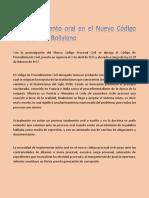4.- El Procedimiento Oral en El Nuevo Codigo Procesal Boliviano