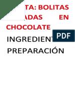 Receta Bolitas de Chocolates
