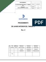 Proc. de Lavado Interior de Tanque