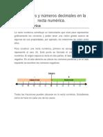 Fracciones y Números Decimales en La Recta