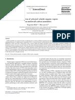 Adsorption of Selected Volatile Organic Vapors on Multiwall Carbon Nanotubes