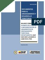 Balance Procesos de Ordenamiento Territorial Departamental