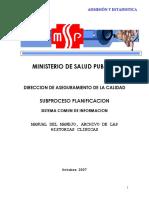 1. Manual de Manejo, Archivo de Las Historias Clínicas