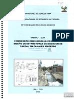 Consideraciones Hidráulicas Para El Diseño de Estructuras de Medición de Caudal en Canales Abiertos Abiertos Manual - Guía