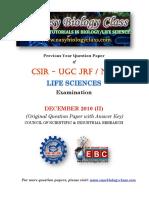 CSIR NET Dec 2010 Life Sciences Solved Qiestion Paper