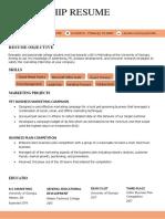 Internship Resume Sample Advanced Orange
