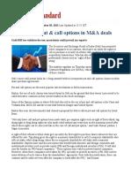 Sebi Permits Put Call Options in M a Deals