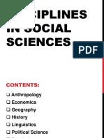 Disciplines in Social Sciences