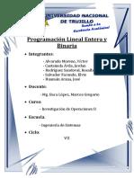 Programación Lineal Entera y Binaria