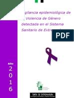 Violencia de Genero Detectada en El Sistema Sanitario de Extremadura - Informe 2016