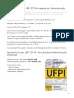 Apostila UFPI Assistente Em Administração PDF 2019