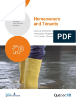 Quebec -Indemnity and Financial Assistance Program Regarding Actual or Imminent Disasters – FLOODING