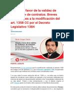 Alegato a favor de la validez de «millones» de contratos. Breves anotaciones a la modificación del art. 1358 CC por el Decreto Legislativo 1384