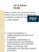 Qualities of a Good Curriculum