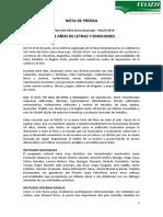Nota de Prensa 10a Felizh