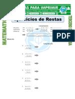 Ficha Ejercicios de Restas Para Tercero de Primaria