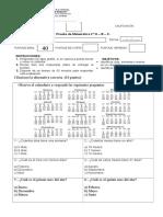 Prueba de Matematica 4( 2ªbásica 2019)