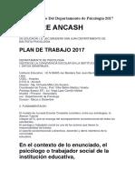 Plan de Trabajo Del Departamento de Psicología 2017