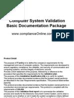 Computer System Validation Basic Documentation Package