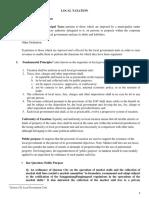 Local Taxation Summary