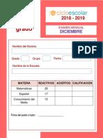 Examen Primer Grado Diciembre Enero Editable