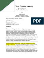 Long-Term Working Memory (Ericsson KA & Kintsch W)