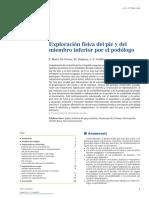 Exploración Física Del Pie y Del Miembro Inferior Por El Podólogo 2013