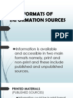 Formats of Information Sources