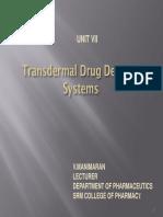 Trans Dermal Drug Delivery