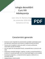Psihologia Dezvoltării- Curs VIII Adolescenta
