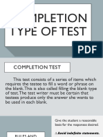 Completion Type of Test