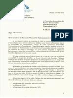 Lettre de Guillaume Soro au Bureau de l'APF