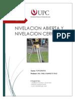 Informe Nivelacion Abierta y Cerrada Topografia