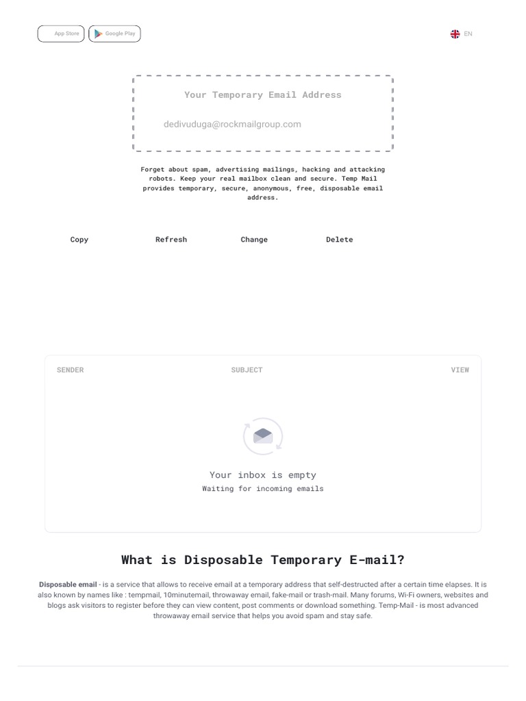 Temp Mail - Disposable Temporary Email | Network Service | Cyberspace