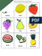 Bingo de Frutas y Verduras en Espac3b1ol 2