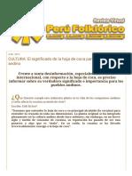 PERÚ FOLKLÓRICO_ CULTURA_ El Significado de La Hoja de Coca Para El Hombre Andino