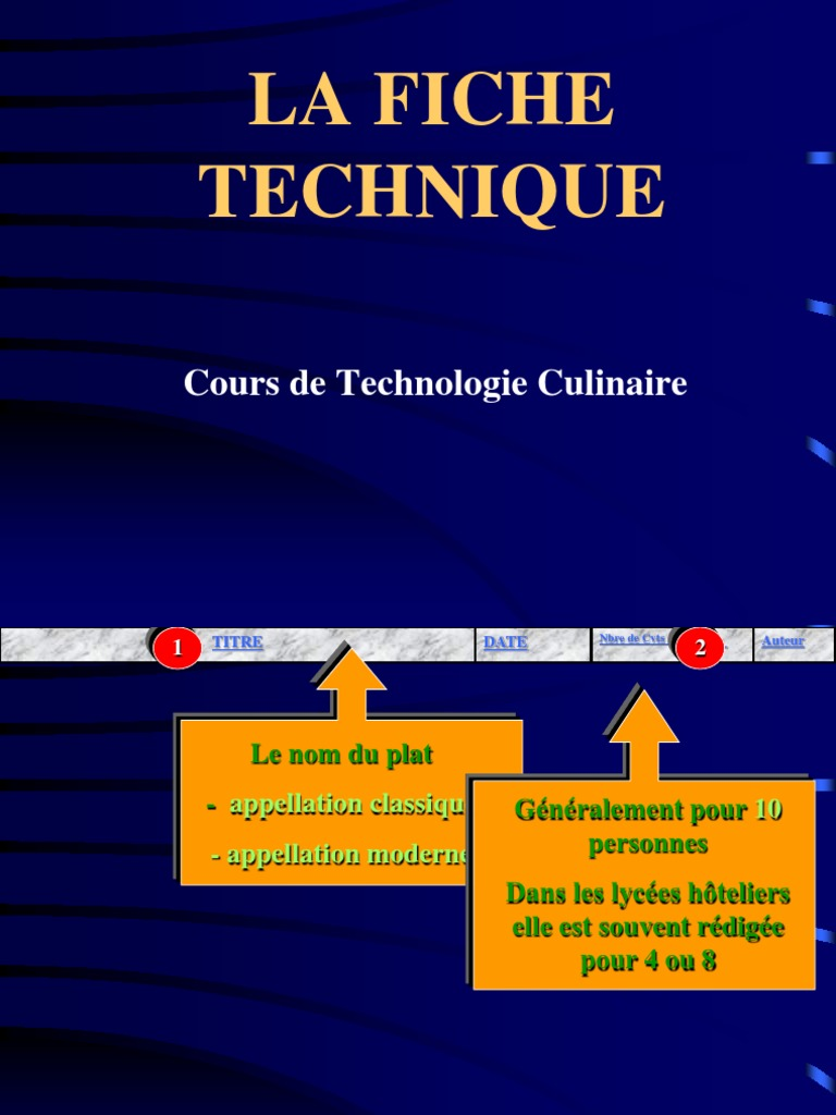 S 02 La Fiche Technique Ppt 2 Eme Version 2 Sauce Cuisine