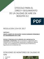 Protocolo para el monitoreo y seguimiento de la calidad de aire de bogotá