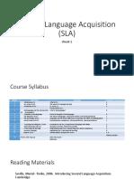 Second Language Acquisition (SLA)
