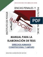 Manual Para La Elaboración de Tesis 2018. Ciencias Penales