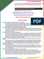 Current Affairs Weekly PDF - March 2019 Fourth Week (23-31)