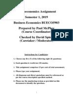 BUECO5903 Microeconomics Assignment, S1, 2019