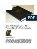 As a PhD Examiner … My Top 25 Tips for PhD Students