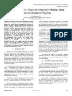 A Web Based E-Tourism Portal for Plateau State Tourism Board of Nigeria