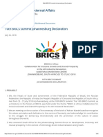 10th BRICS Summit Johannesburg Declaration