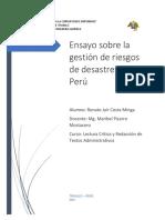 Ensayo Sobre La Gentión de Riesgos de Desastres en El Perú