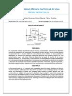 Destilacion simple Informe de laboratorio