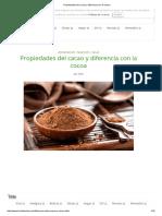 Propiedades Del Cacao y Diferencia Con La Cocoa
