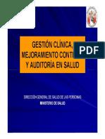 Gestión de Clínica Mejoramiento Continuo y Auditoria en Salud